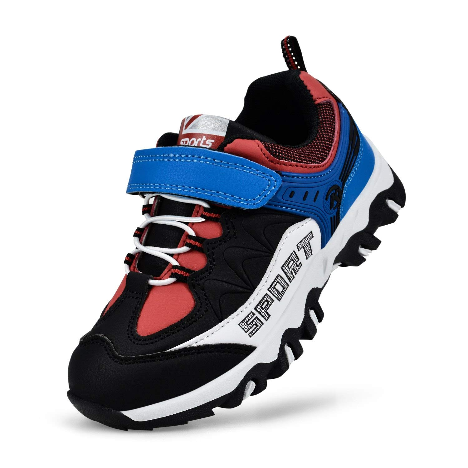 MARSVOVO Girl's Shoes Lightweight Outdoor Antiskid Breathable Hiking Running Shoes Sneakers Blue/Red 4 Big Kid by MARSVOVO