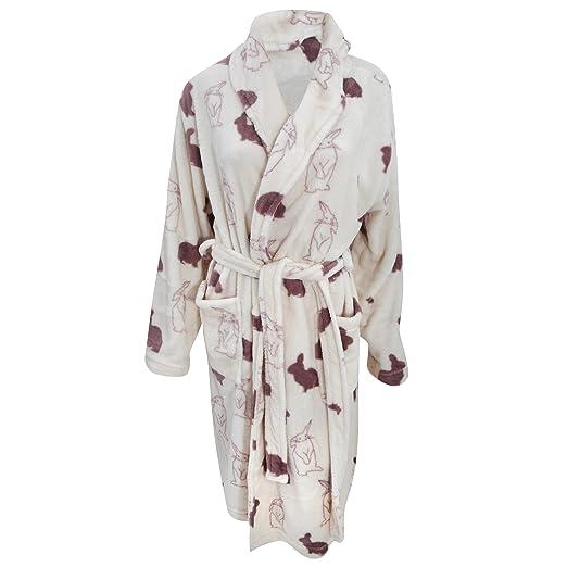 Womens/Ladies Supersoft Bunny Rabbit Print Fleece Dressing Gown ...