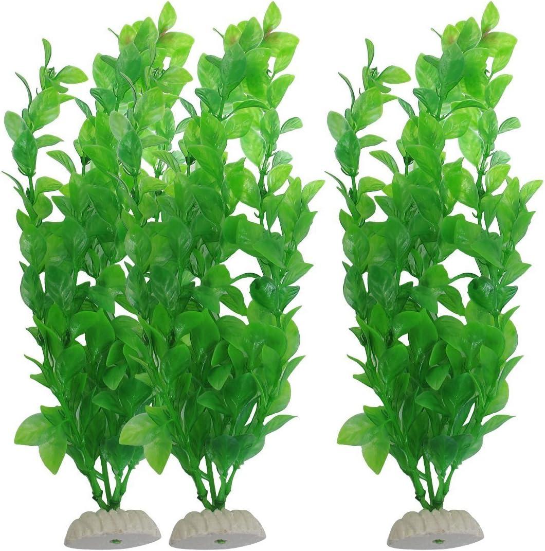 CNZ Aquarium Decor Fish Tank Decoration Ornament Artificial Plastic Plant Green (10.6-inch Green, 3pcs)