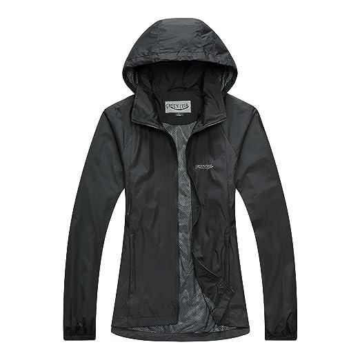 Green Crab Womens Windproof Waterproof Rain Jacket Lady Hooded Breathable Coat (Small, Black)