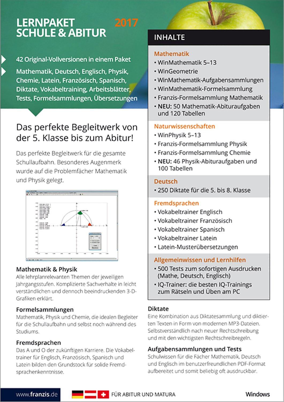 Franzis Lernpaket Schule und Abitur 2017 Software: Franzis Franzis ...