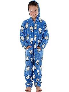 Selena Girl Childrens Kids Duck Hooded Coral Fleece All in One Pyjamas KN089