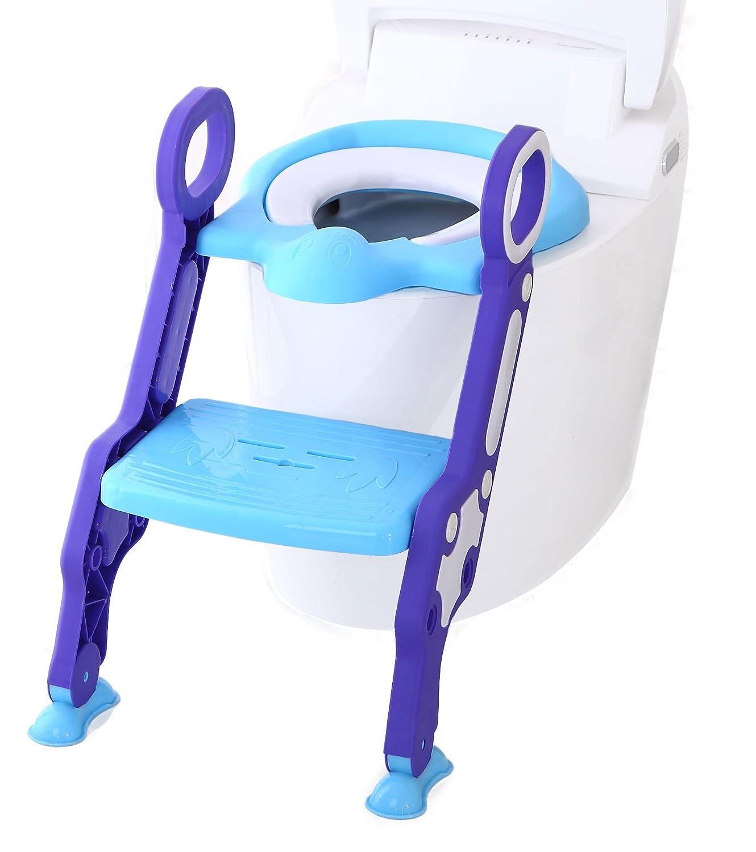 Asiento inodoro, reductor WC con escalera para niños (azul púrpura, plegable) ONE SMALL STEP