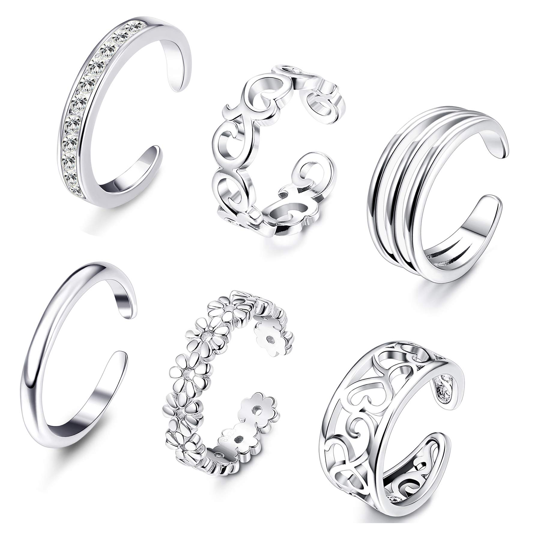FUNRUN JEWELRY 6PCS Open Toe Ring for Women Girls Adjustable Tail Ring Foot Jewelry