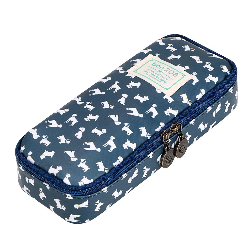 BTSKY Cute Pencil Case - High Capacity Floral Pencil Pouch Stationery Organizer Multifunction Cosmetic Makeup Bag, Perfect Holder for Pencils and Pens (Puppy)