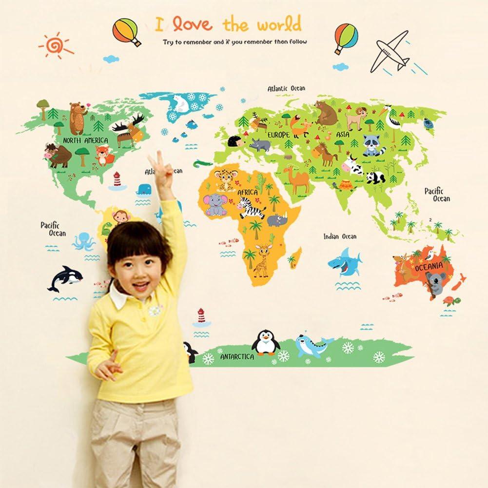 Wallpark Dibujos animados Animales Mapa del mundo Desmontable Pegatinas de Pared Etiqueta de la Pared, Bebé Niños Hogar Infantiles Dormitorio Vivero DIY Decorativas Adhesivo Arte Murales: Amazon.es: Bebé