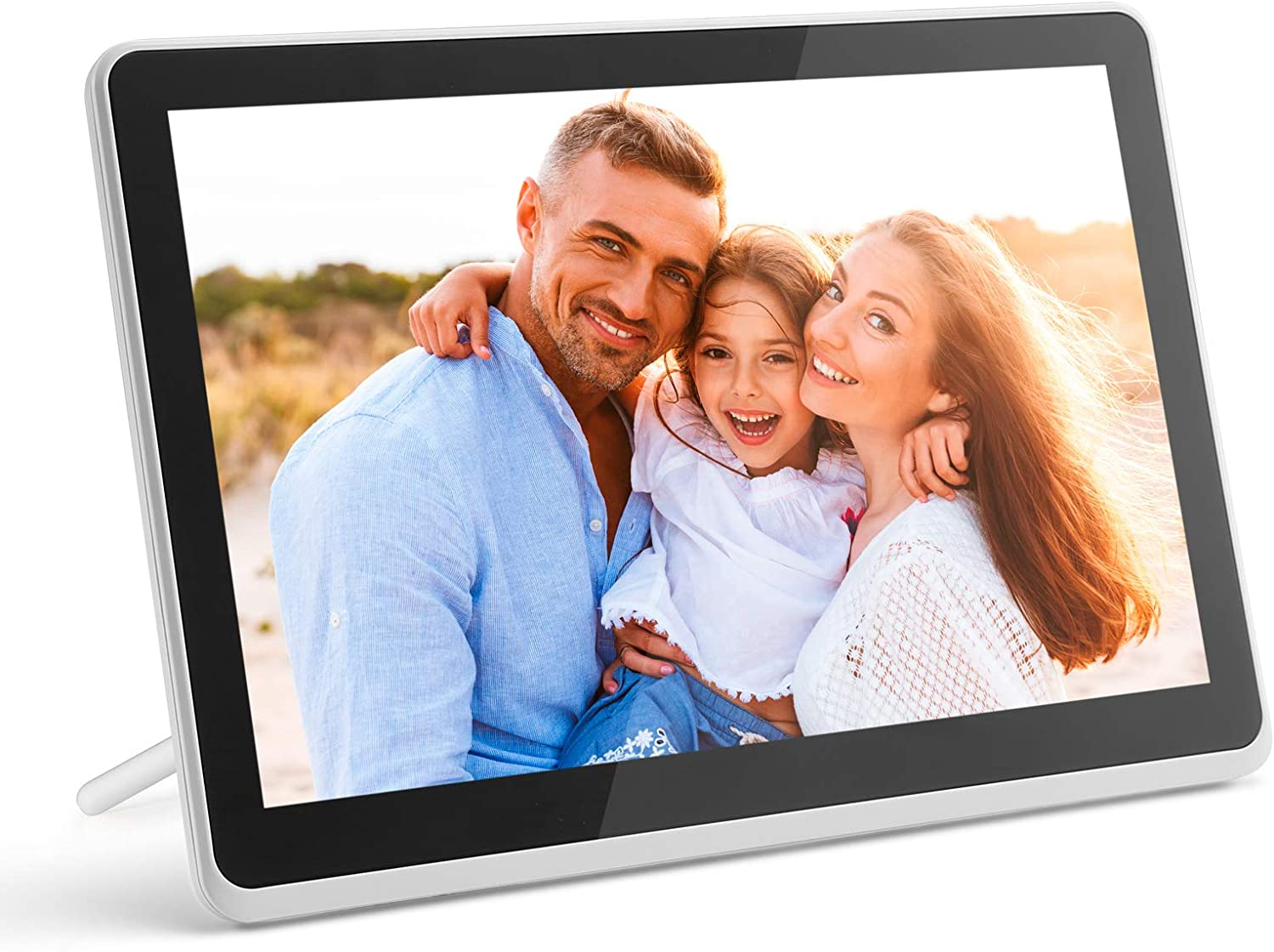 Digital Photo Frame WiFi Digital Picture Frame kimire 1920x1080 Touch Screen, Support Thumb USB Drive and SD Slot, Music Player, Alarm Clock, Share Photo and Video via APP, Cloud, Email(10inch White)