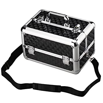 13.8'' Aluminum Professional Makeup Train Case Makeup Organizer with Adjustable Dividers -Cosmetic Box