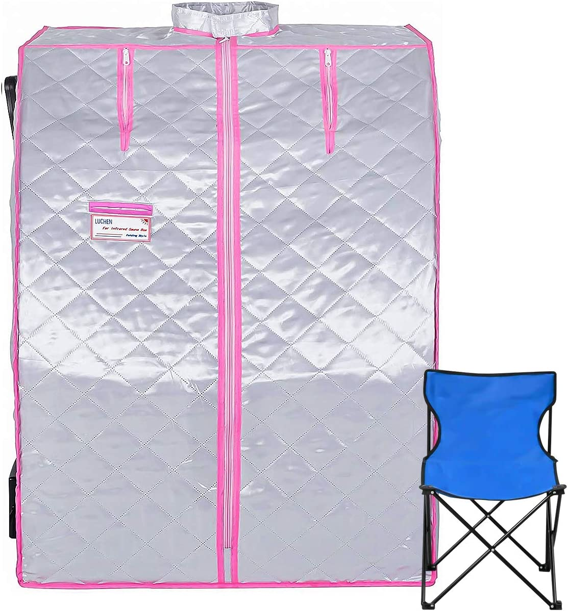 Far Infrared Sauna PortableHome Spa Detox Therapy Low-EMF Far Infrared Personal Sauna with Heating Foot Pad and Portable Chair (Sliver)