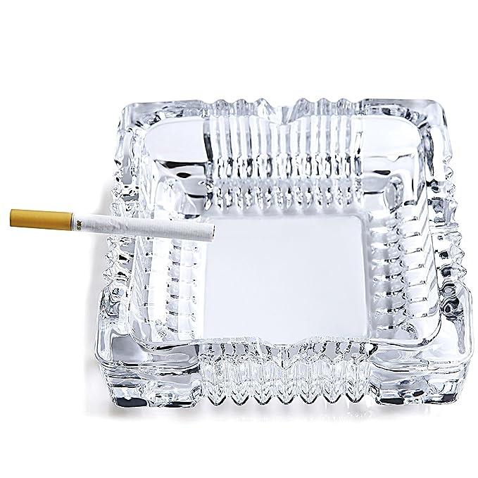 Amazon.com: SiCoHome Ashtray,Square Tabletop Glass Ashtray Smoke ...