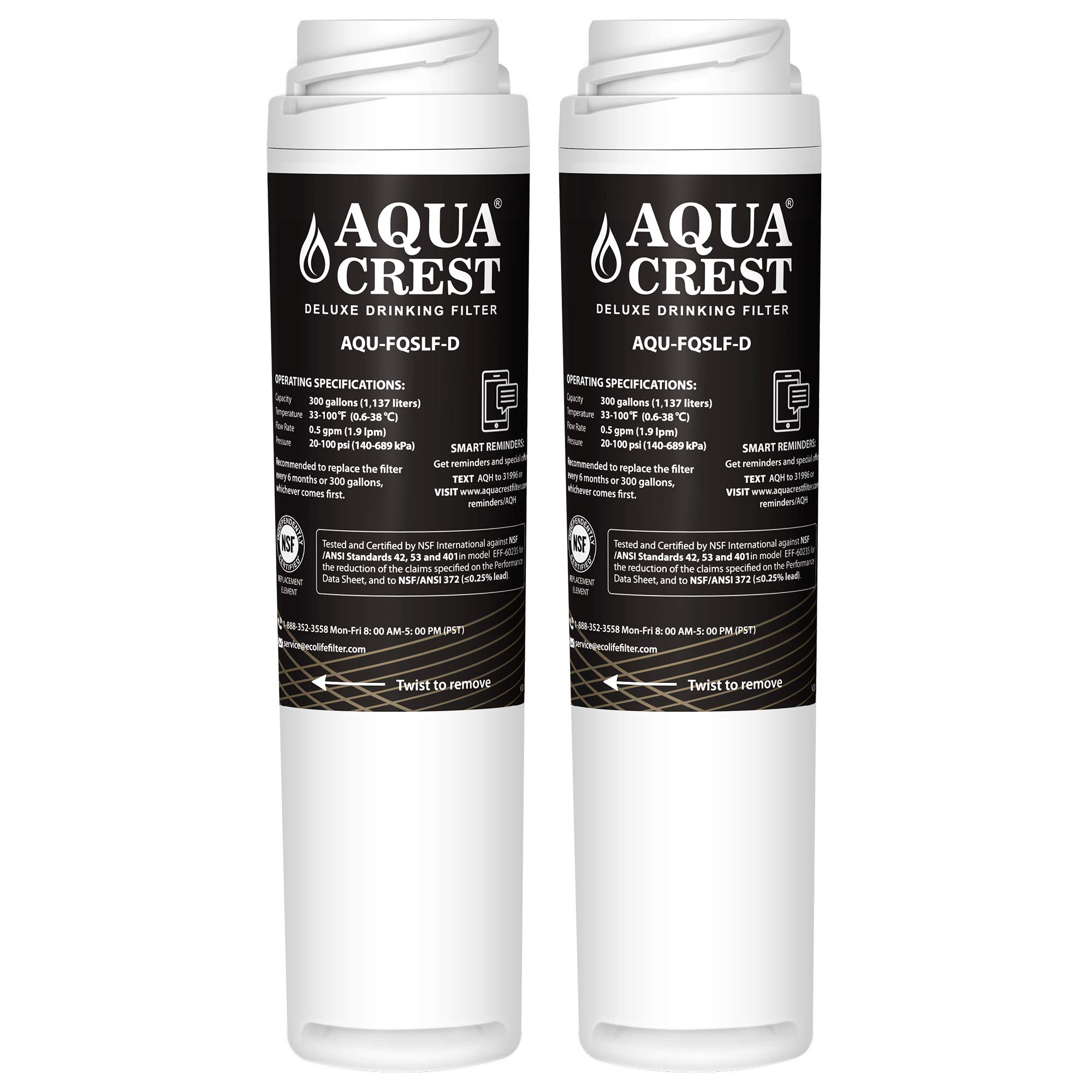 AQUACREST FQSLF NSF 401,53&42 Replacement Under Sink Water Filter, Compatible with GE FQSLF (1 Set)