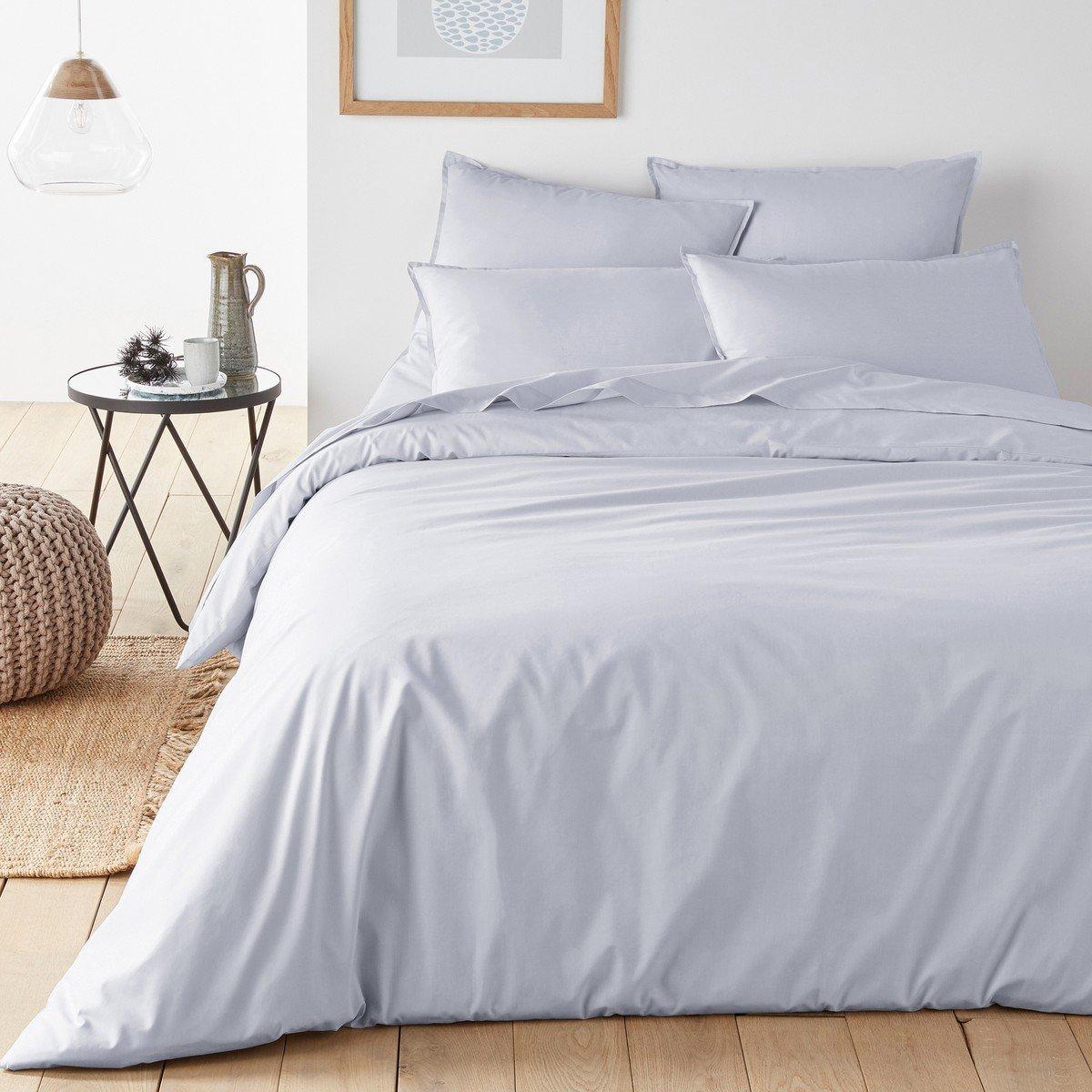 La Redoute Interieurs Organic Cotton Percale Duvet Cover Grey Size Single (140 X 200Cm)