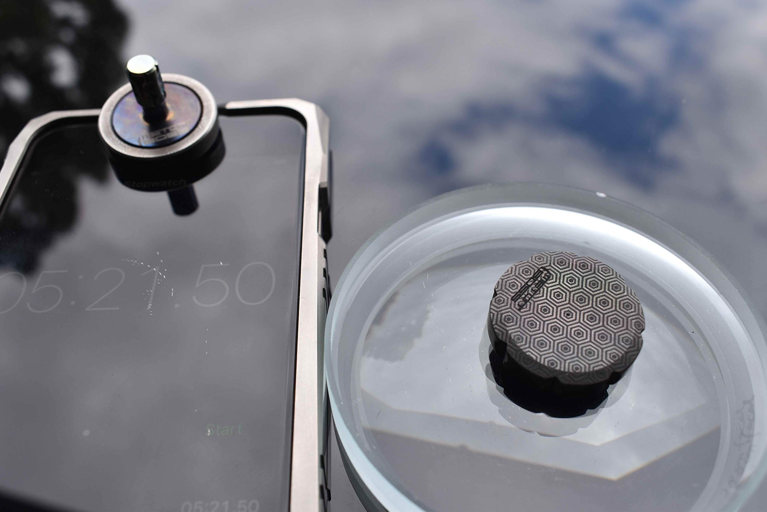 MetonBoss Worry Coin Black Zirconium & Ruby Bearing   Everyday Carry Gear   Precision-Made and Desktop Display by MetonBoss (Image #9)