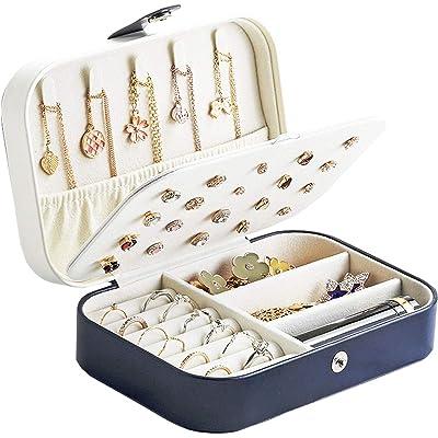 Lrikas Pequeña Joyero Viaje Decorativas Cajas para Joyas Jewelry Organizer para Mujer 16 .5 x 11.5 x 5.5 cm (Azul Oscuro)