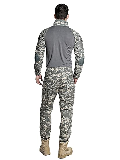 f129109a2ea43 Amazon.com : SINAIRSOFT US Army Uniform Shirt Pants with Knee Pads Tactical  Combat Airsoft Hunting Apparel Camo BDU : Sports & Outdoors