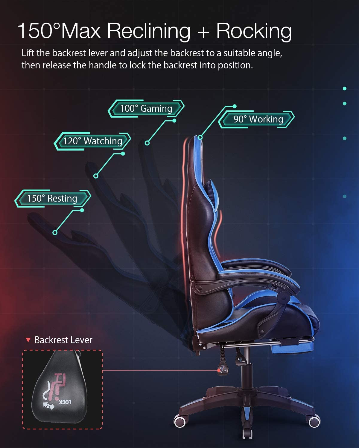Gaming Chair BlitzWolf Office Chair Ergonomic Computer Chair PC Gaming Chair with Footrest 150/°Reclining Detachable Pillows Armrest Home Office Blue