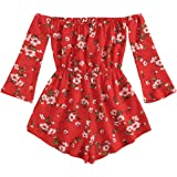 MakeMeChic Women's Plus Size Floral Print One Piece Long Sleeve Off Shoulder Romper Playsuit Red-1 4XL