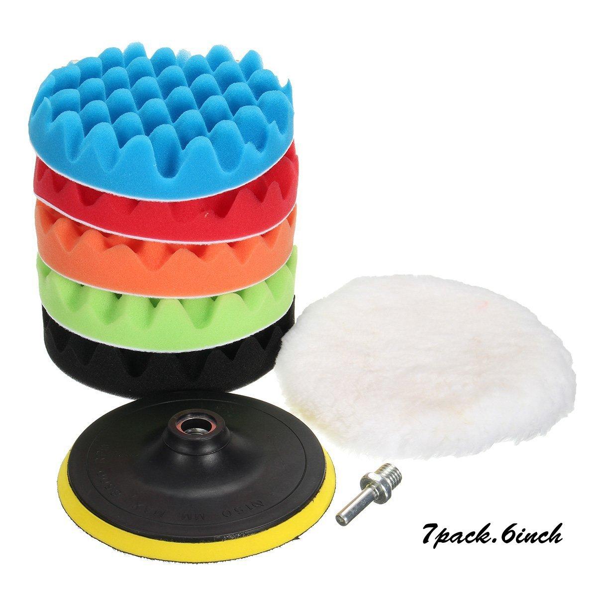 MATCC 7Pcs 6inch Polishing pads,Sponge and Woolen Polishing Waxing Buffing Pads Kits with M14 Drill Adapter, 6inchs