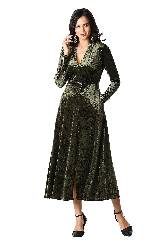 1930s Day Dresses, Afternoon Dresses History eShakti Womens Faux-wrap Stretch Velvet Dress $89.95 AT vintagedancer.com