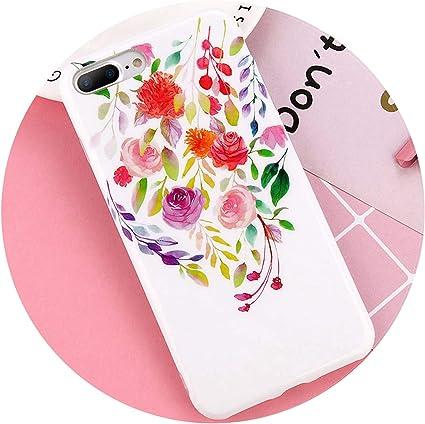 Fleur Coque iPhone 7 8 Plus Rose Floral Love Heart Soft TPU Back ...