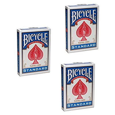 USPC Bicycle Rider Back Poker Playing Cards - 3 Decks (Blue): Toys & Games