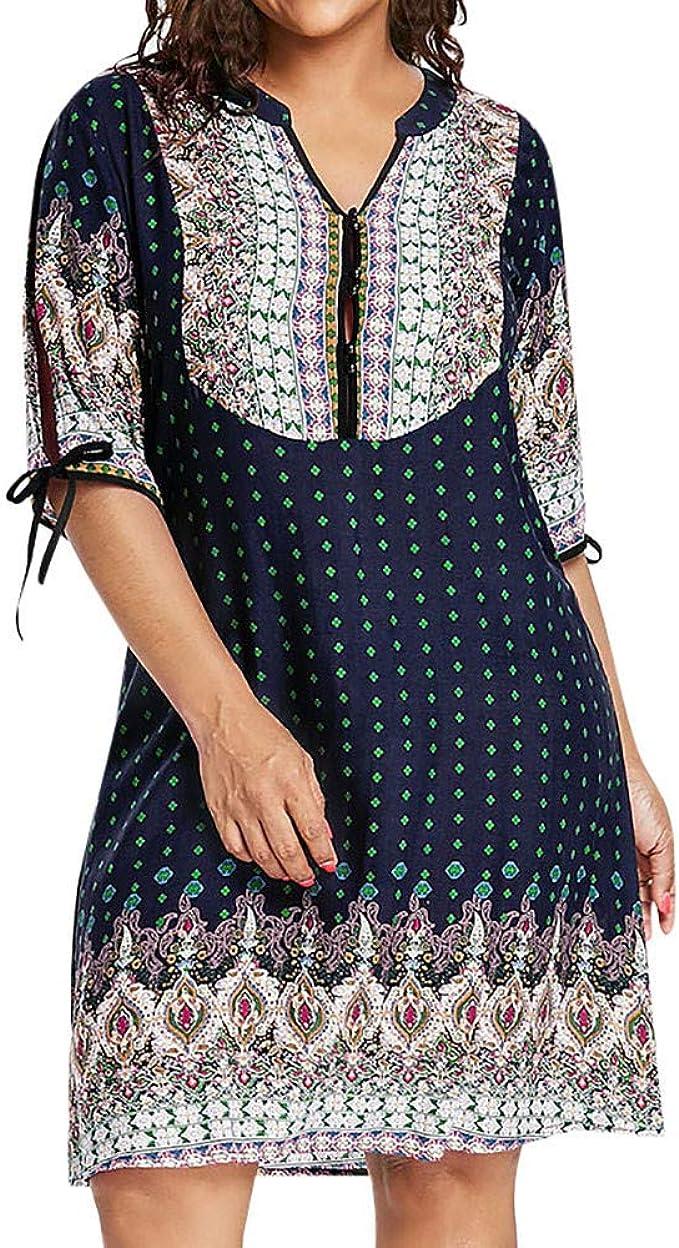 Ansenesna Kleid Für Mollige Damen Vintage V Ausschnitt Elegant