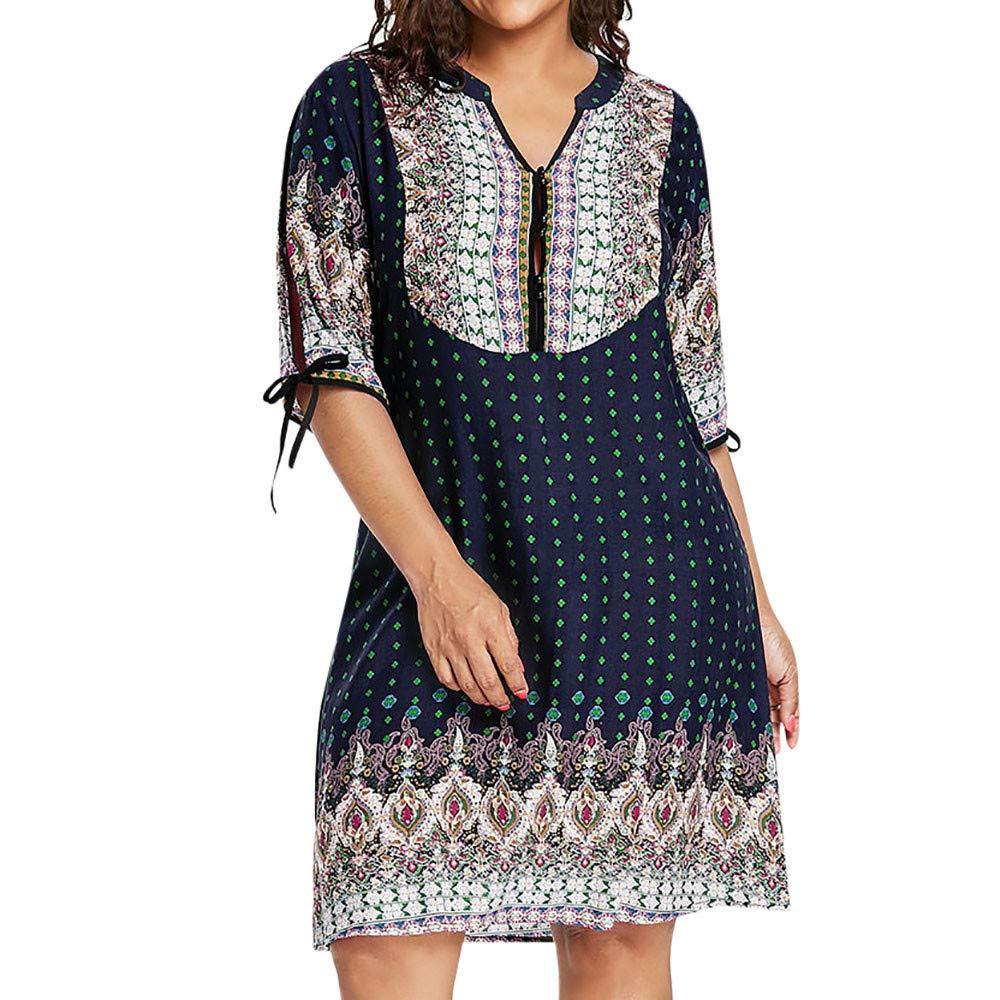 Women's Dresses Half Sleeve Casual Plus Size Design Buttons Geometric Split Sleeve Dress Ladies Mini Dress