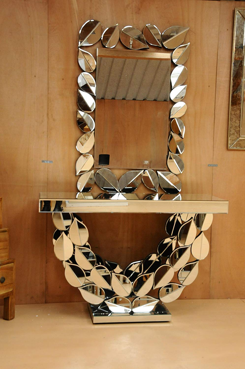 Buy Alfa Design Wall Mounted Console Table With Mirror Decor For The Living Room Bedroom Wall Mirror Wood Core Backing 12mm Mdf Mirror Size 42 X 30 Table L 36 X W 14