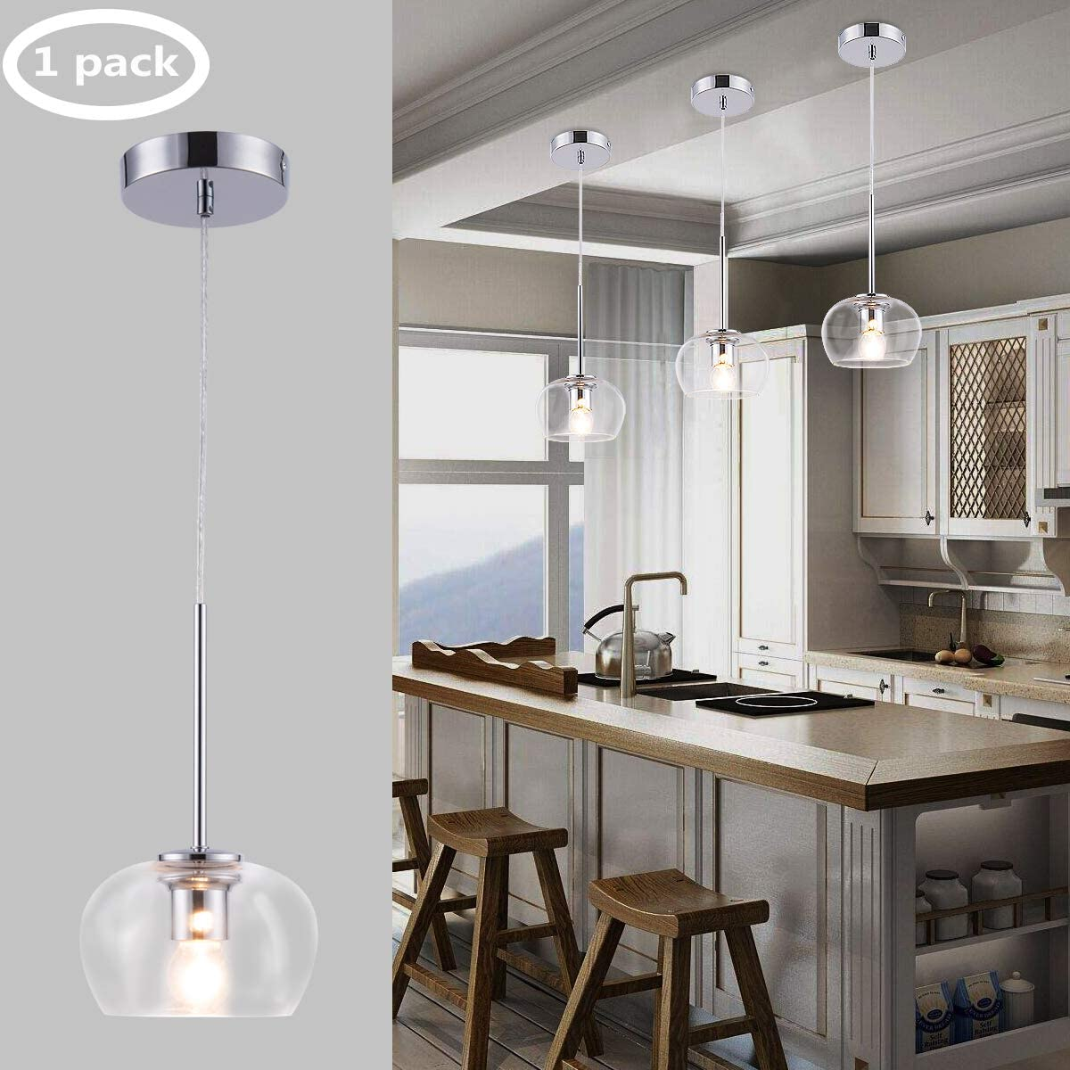 Harchee Modern Glass Globe Pendant Lighting with Chrome Finish with Clear Glass Shade, Adjustable Mini Kitchen Light Fixtures Ceiling Hanging Lamp for Dining Room Hotel Loft Counter Farmhouse