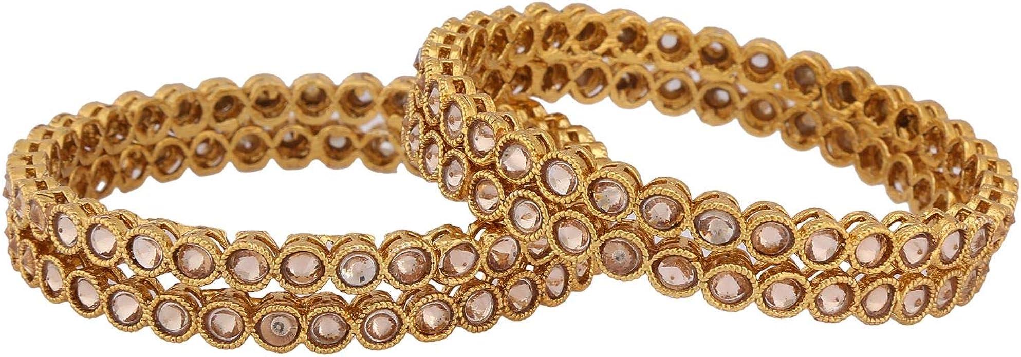 Efulgenz Indian Style Bollywood Traditional Gold Plated Faux Kundan Stone Wedding Bridal Bracelet Bangle Set Jewelry