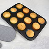 Kurtzy Carbon Steel 12 Cups Non Stick Baking Pan Bakeware Moulds For Muffins Cupcake Desserts Pastries Tart Pie-Dishwasher Safe