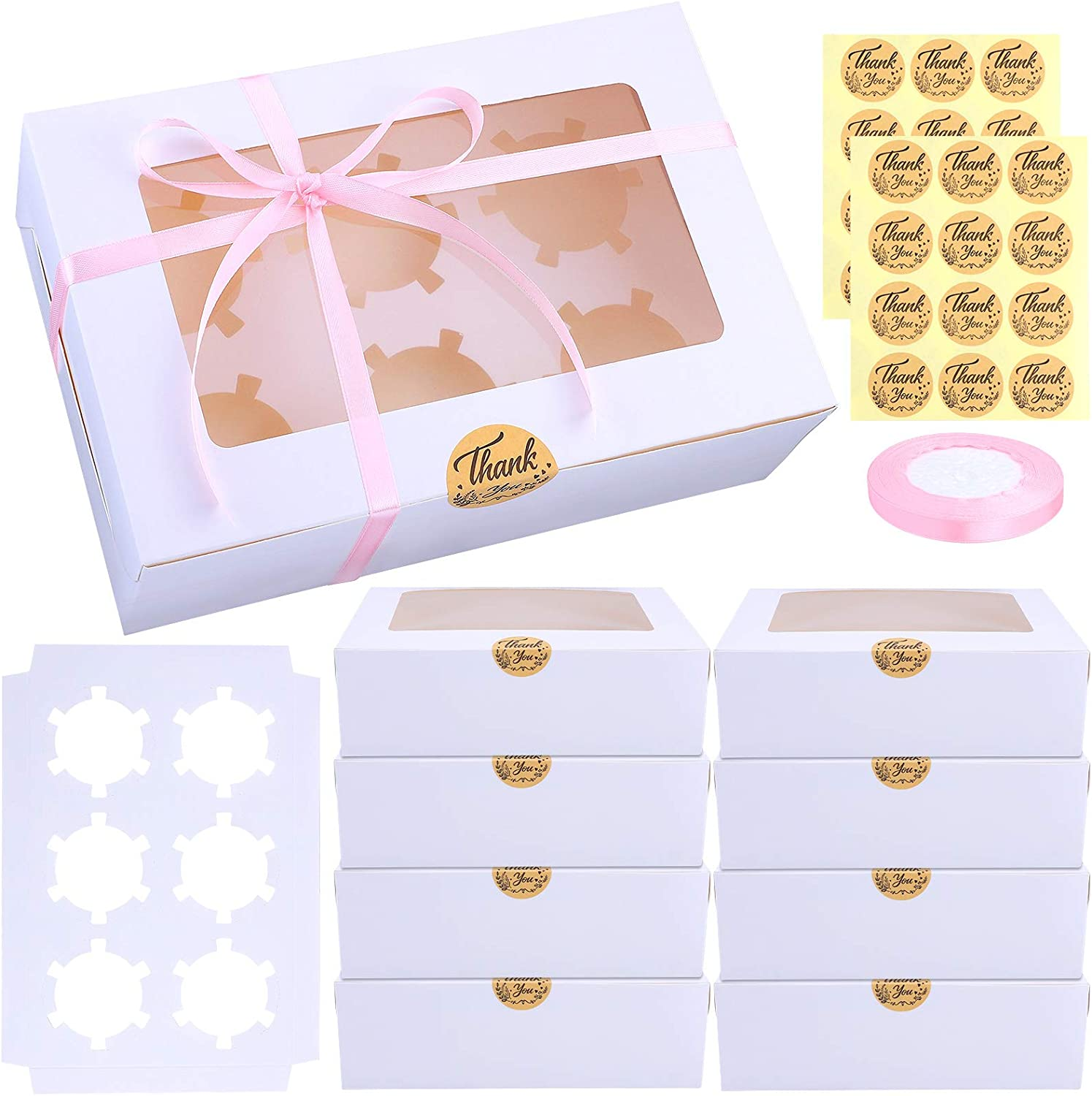 Ruisita 15 Pack Cupcake Boxes White Paper Cupcake Carriers Bakery Box with Inserts and Window Cake Carrier Container Cookie Gift Boxes 6 Holders for Dessert, Pastries, Cake, Muffin, Donut, Macaron