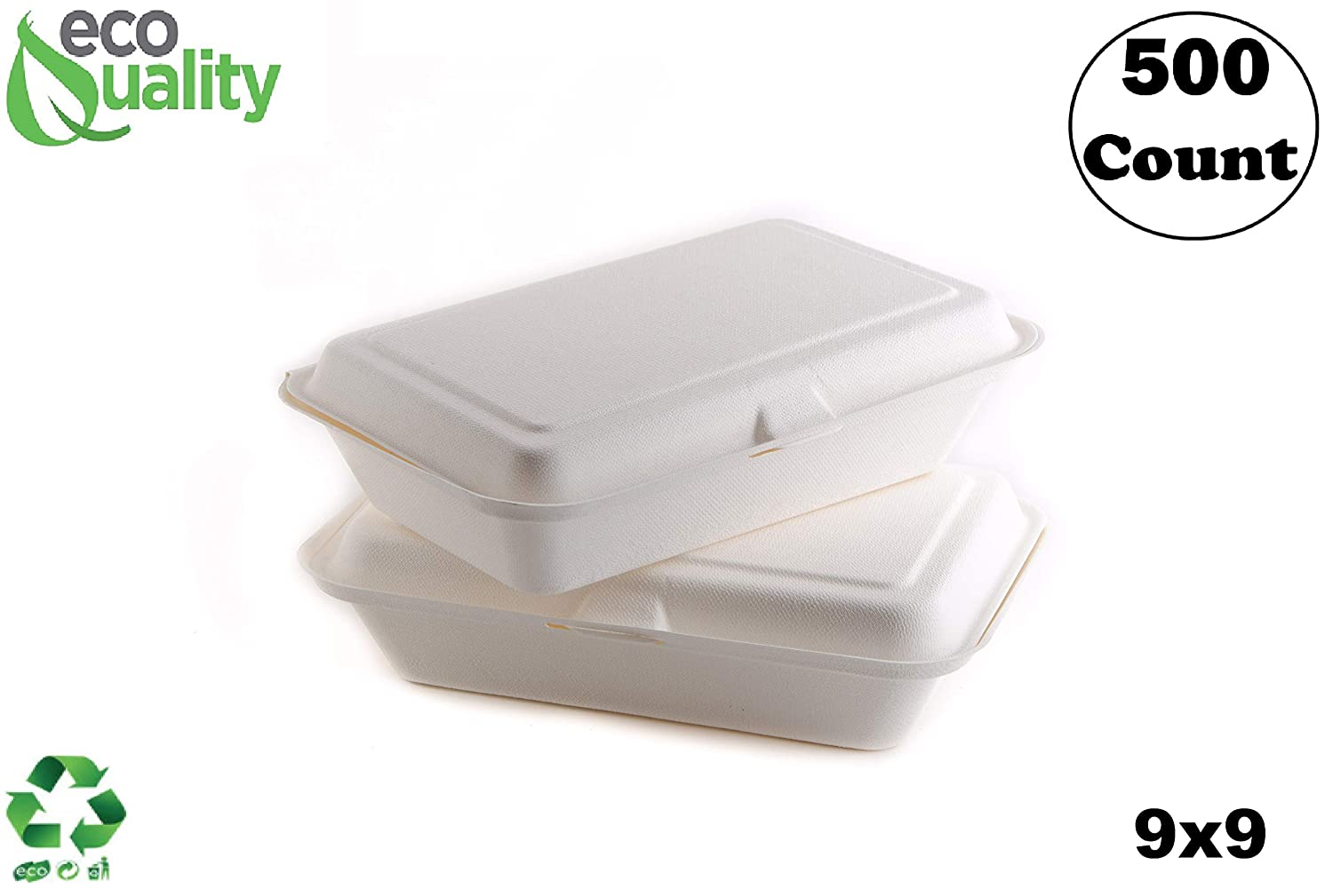 500 Count - Biodegradable 9x9 Take Out Food Containers with Clamshell Hinged Lid - Eco Friendly Sugarcane Bagasse 100% Compostable, Recyclable, Togo, Restaurant Carry Out, Party Take Home Boxes