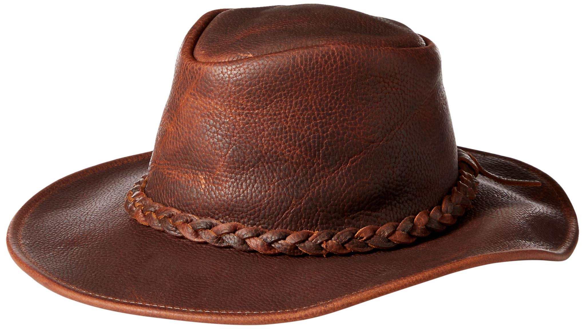 Henschel Walker, Full Grain Leather, Shapeable Brim, Braided Band, Brown, Large