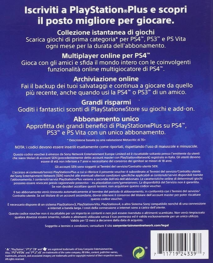 PlayStation 3 - Plus Card 365 Giorni [Importación italiana ...