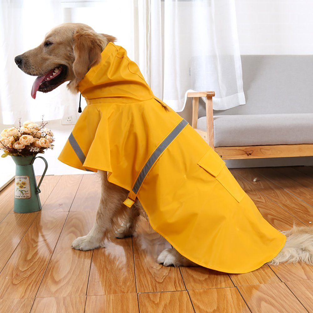 OCSOSO Pet Dog Slicker Raincoat Gear Brite Rain Jackets Dog Cat Hooded with Reflective Band (Yellow, XS Back: 10''(25cm)).