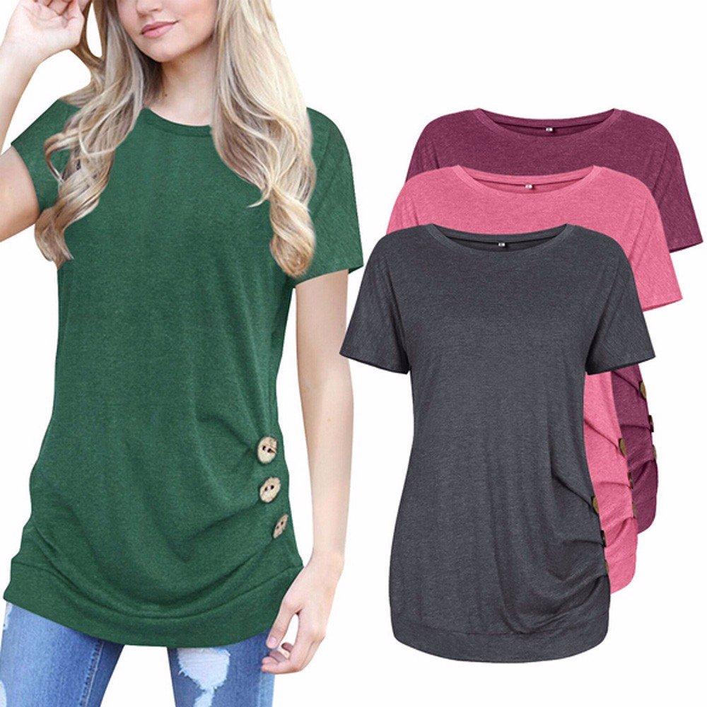 Ropa para Mujeres Camiseta de Botón Mujeres Señoras Tops Mangas Cortas Cuello Redondo Camiseta de Verano de Color Puro❤️️Lonshell: Amazon.es: Ropa y ...