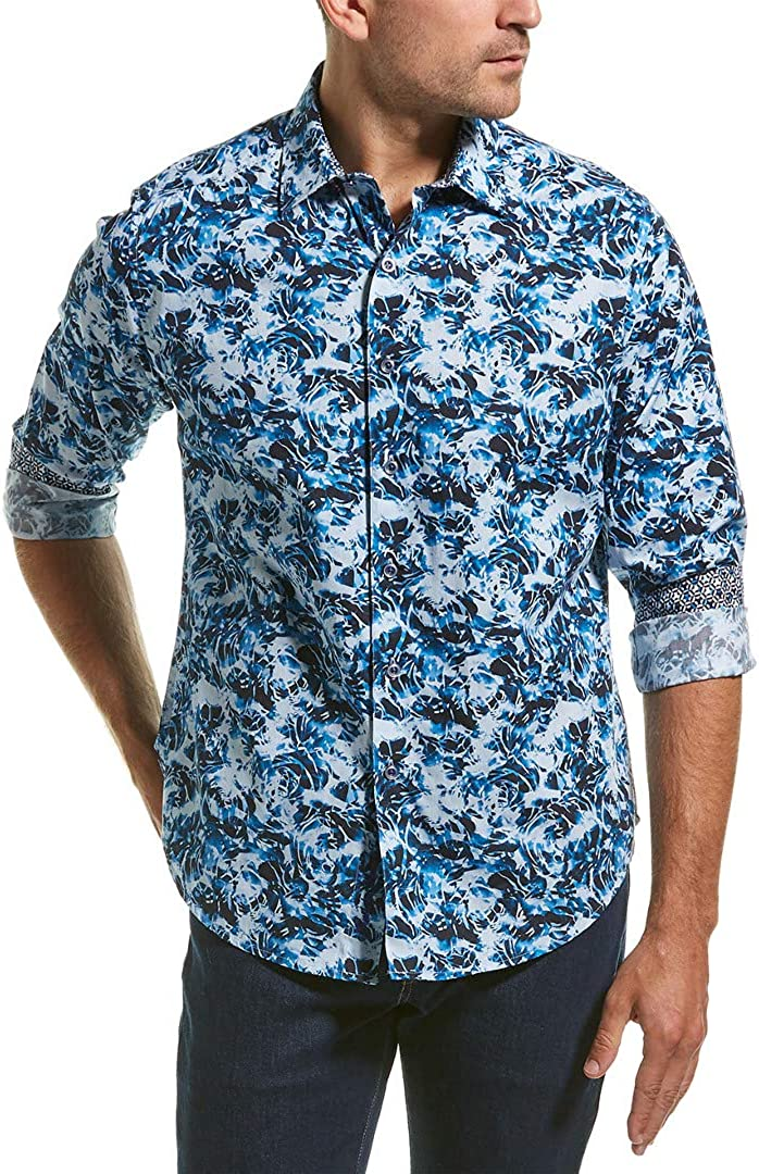 Robert Graham Mens Long Sleeve Boughton Abstract Sport Shirt Classic Fit Blue
