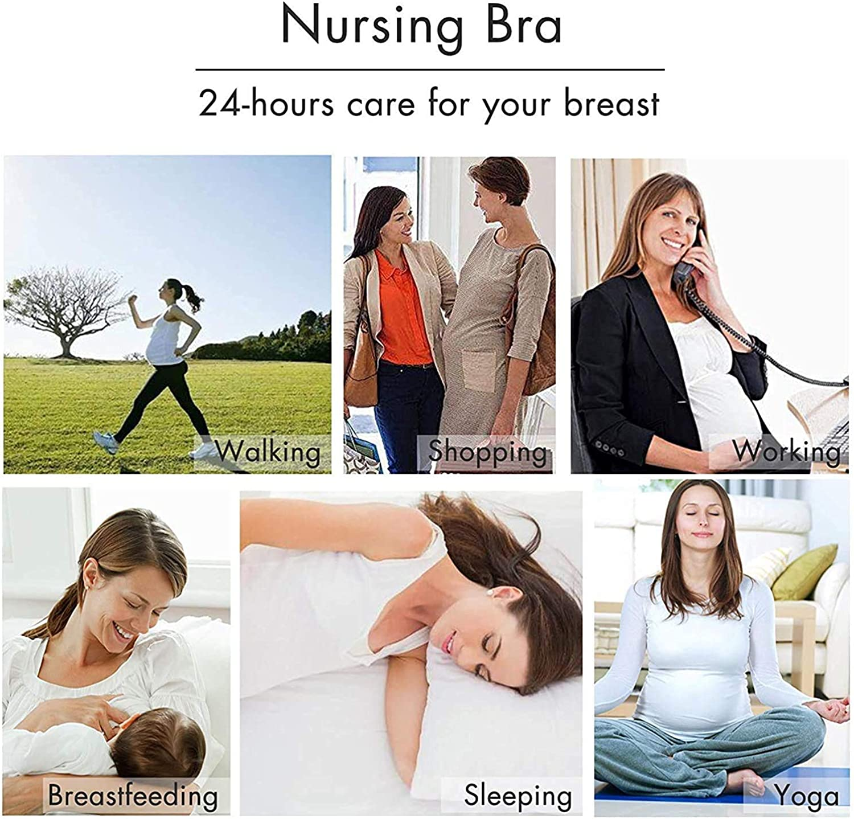 Cotton Nursing Bra 3 Pack Seamless Wireless Night Sleep Nursing Maternity Bra for Breastfeeding with Removable Spill Prevention Pads