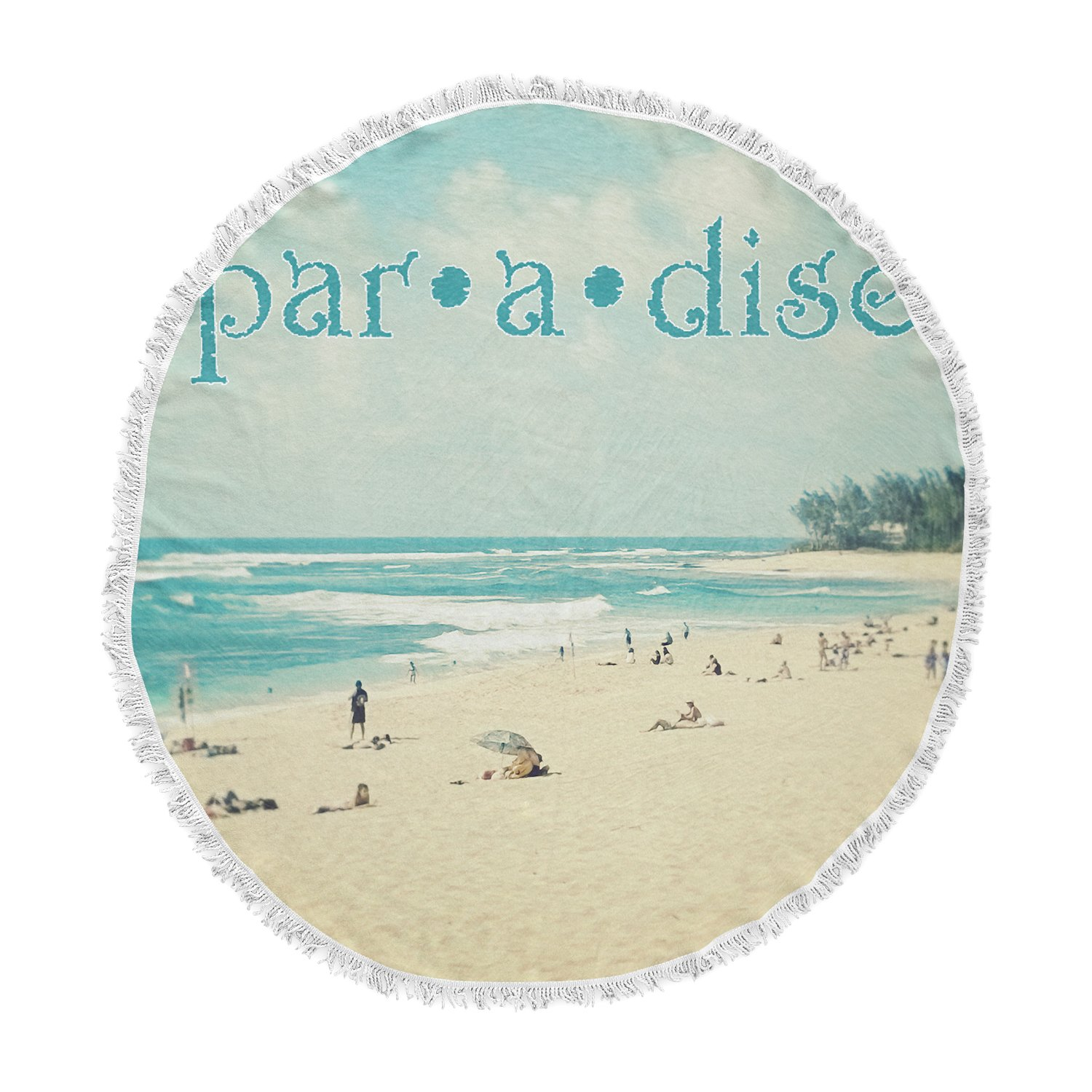 Kess InHouse Sylvia Cook Paradise Tan Blue Round Beach Towel Blanket