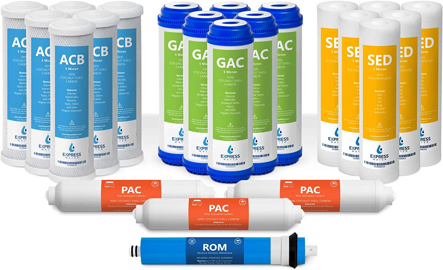 2 Year Reverse Osmosis System Filter Set Alkaline Sediment SED 22 Filters with 100 GPD RO Membrane Carbon GAC ACB PAC Express Water and UV Filters 10 inch Size Replacement Water Filters