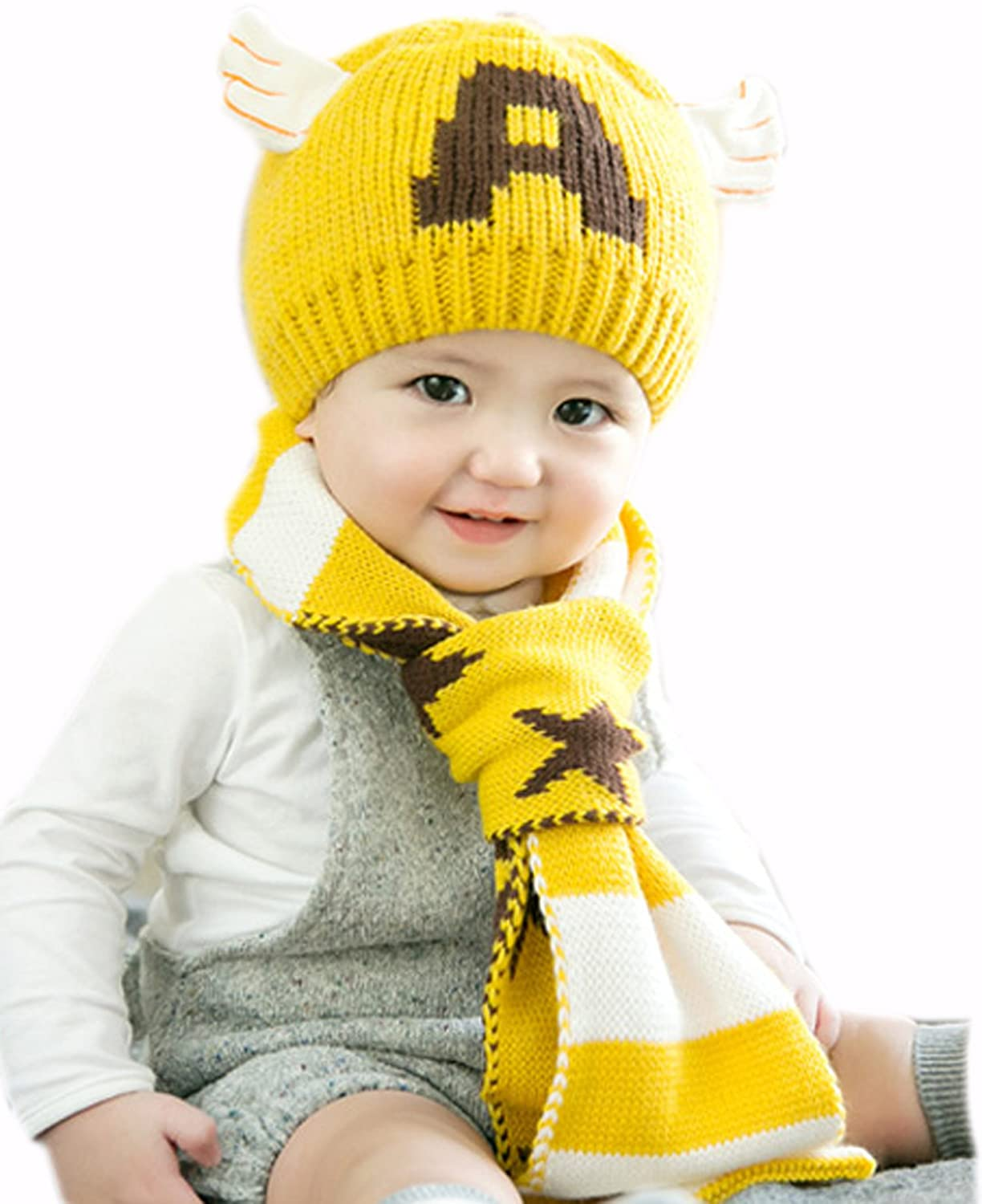 GZMM Baby Kint Hat and Scarf Unisex Infant Toddler 6-24 Months PGZMM10-13