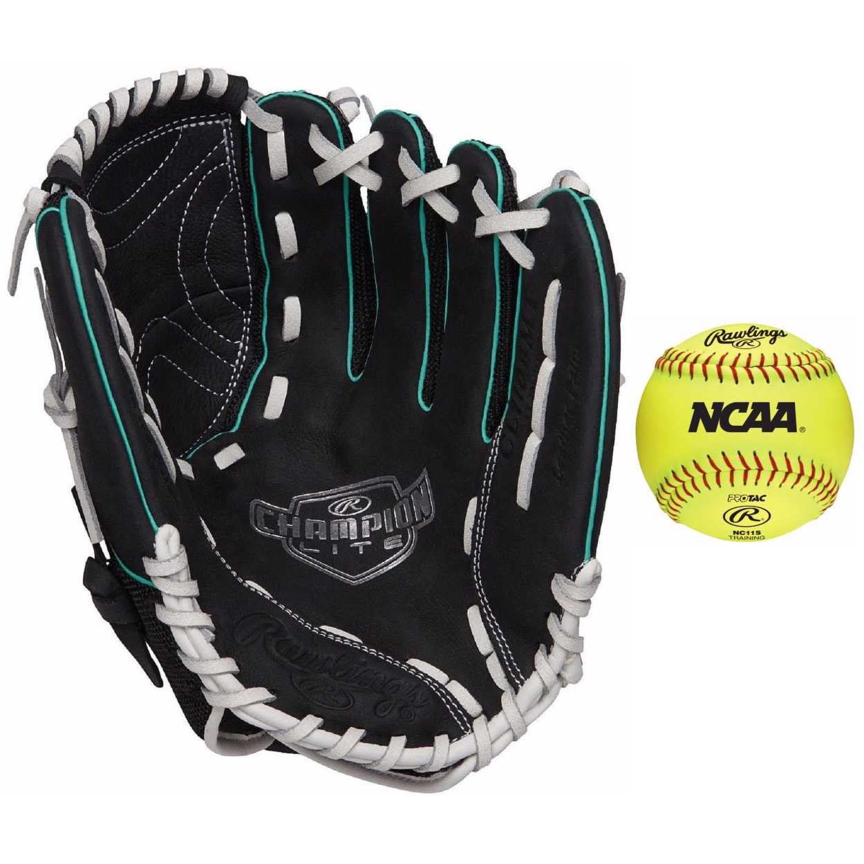 Rawlings Champion Lite 11 in Fastpitchソフトボールグローブ&ボール( Right Hand Throw ) B07B9H1N55