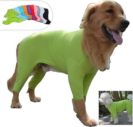 Lovelonglong pijama ligero para perro, de cuatro pies, de algodón puro, mono para perro, con 4 patas, pijamas elegantes, disfraz para perros grandes y ...