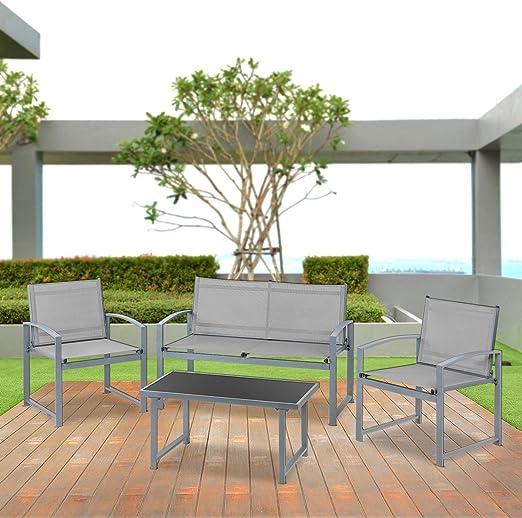 Mc Haus PAVIA - Set De Muebles Jardin/Terraza, Gris: Amazon.es: Juguetes y juegos