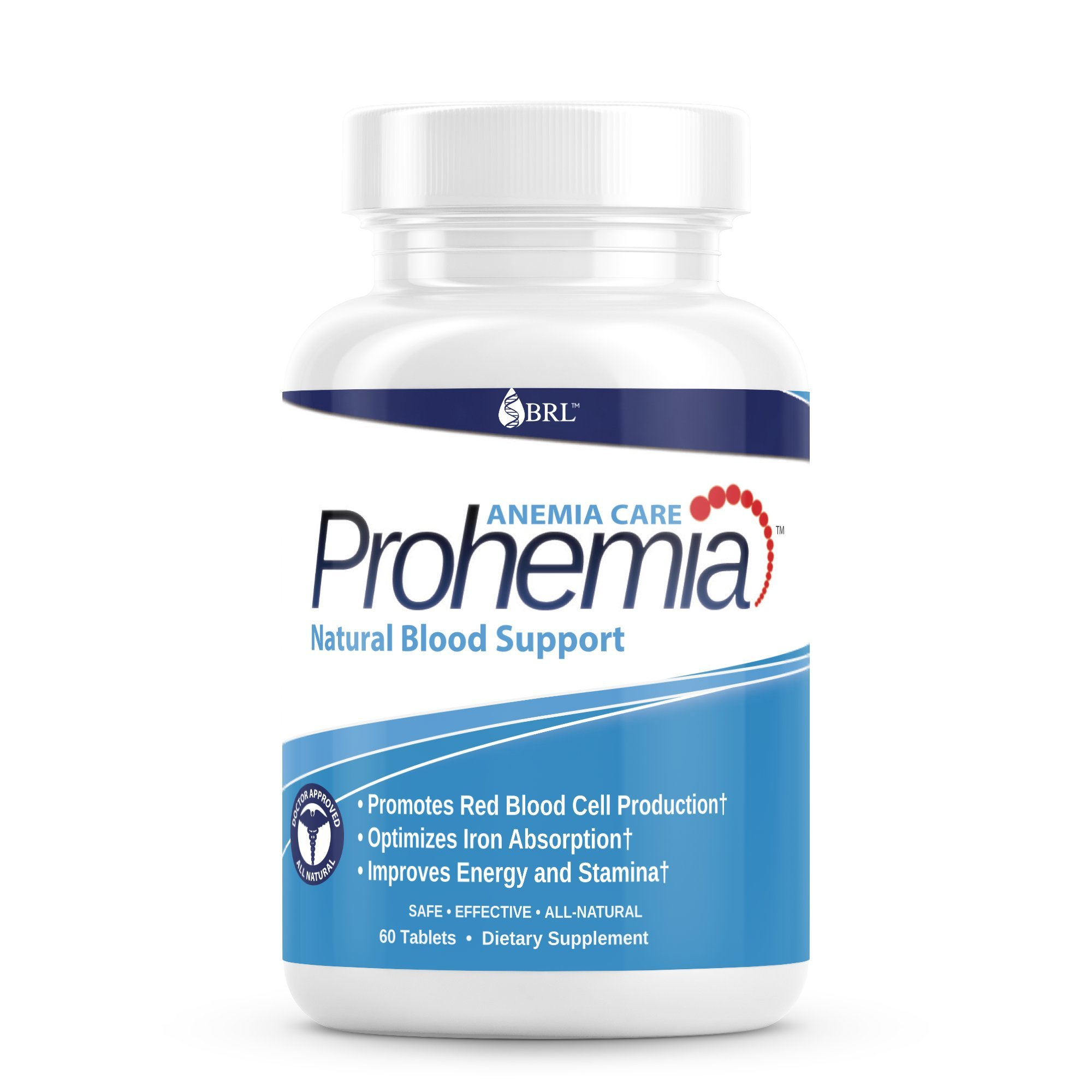 Prohemia Natural Blood Builder and Support for Healthy Iron Levels, Oxygen and Red Blood Cells Production, Gluten-Free, Non-GMO - 60 Tablets... by Prohemia