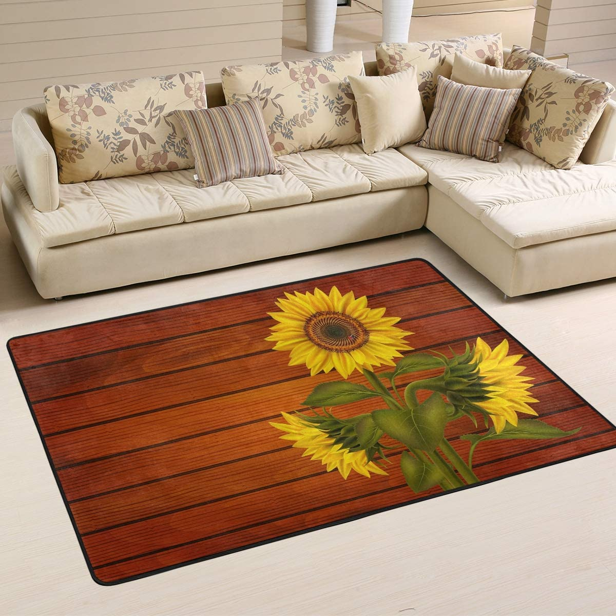 1.7  x 2.6 Vintage Wooden Sunflower Nursery Rug Floor Carpet Yoga Mat Naanle Sunflower Non Slip Area Rug for Living Dinning Room Bedroom Kitchen 20 x 31 Inches // 50 x 80 cm