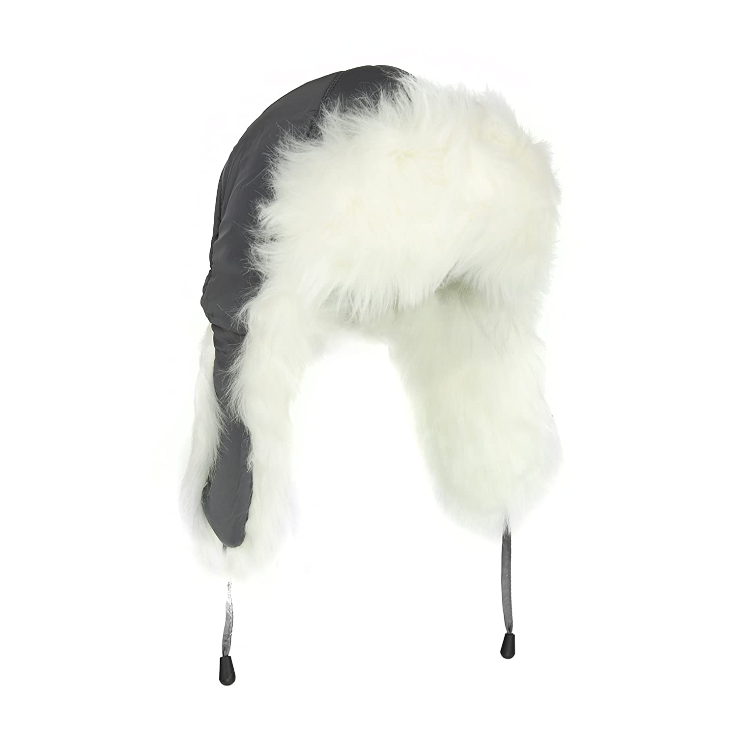 Adorable White Fur Trooper Hat, Warm Grey Peruvian Cap for Women w/ Tie TJED110116