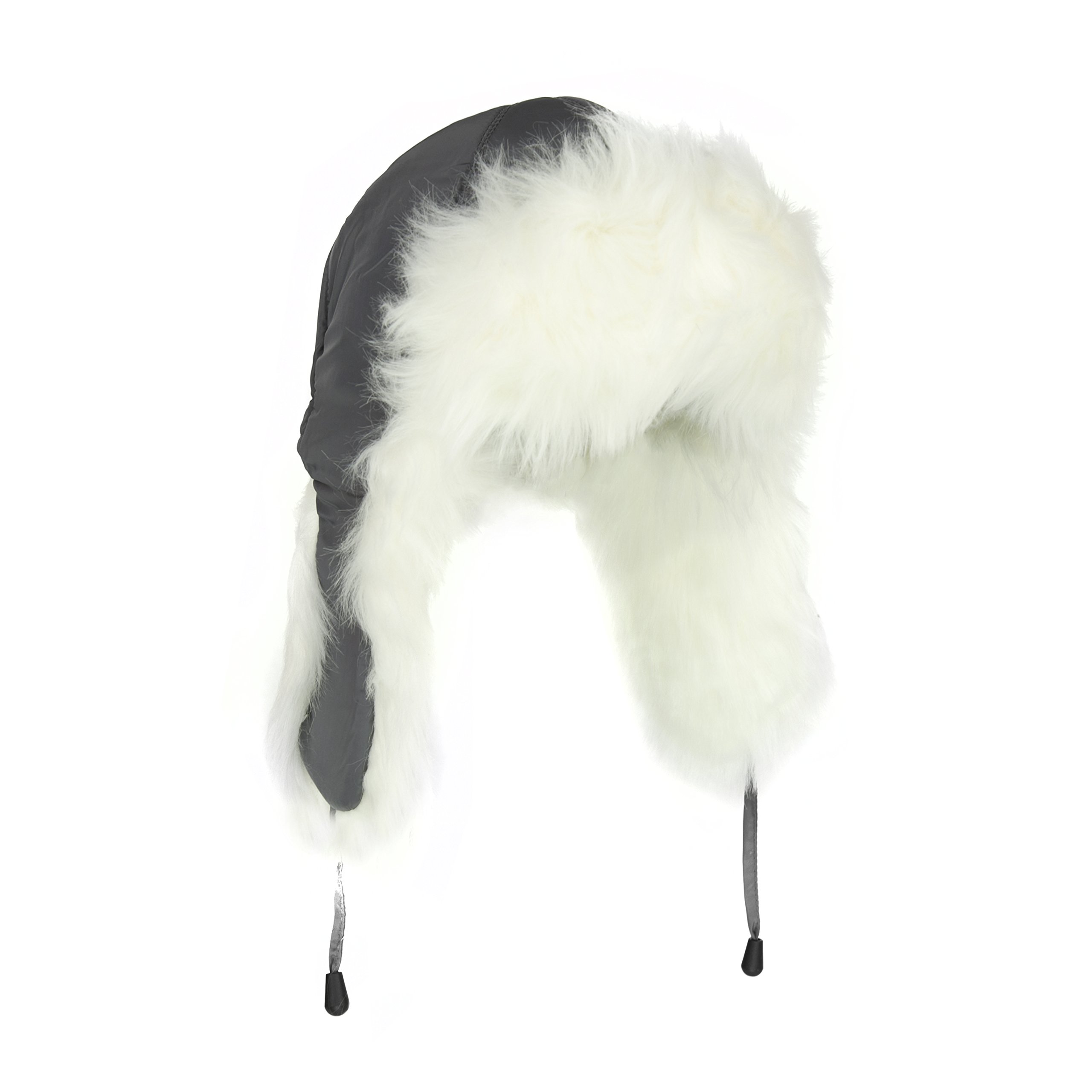 Adorable White Fur Trooper Hat, Warm Grey Peruvian Cap for Women w/ Tie