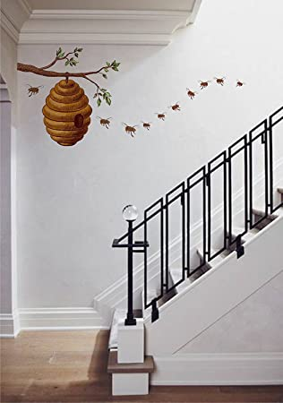 Honey Bee On Tree Story DIY Wall Sticker Removal Vinyl Home Decor Decal Murals 90 X 75 Cm Amazonca Kitchen